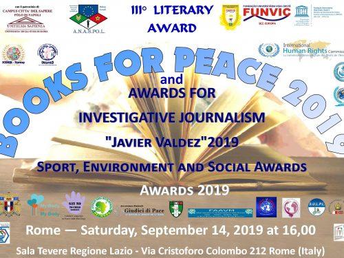 """2019: Premi Books for Peace e """"Javier Valdez"""" al giornalismo d'inchiesta"""