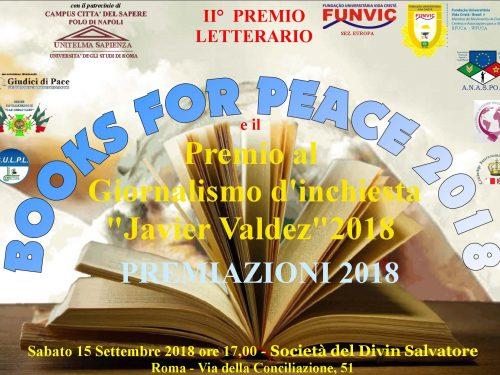 """Premiazioni 2018 del Books for Peace e """"Javier Valdez"""""""