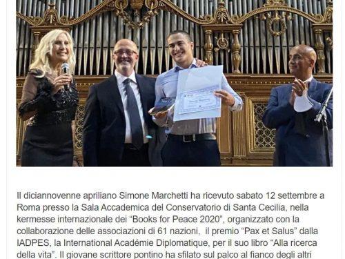 """IL PREMIO 'PAX ET SALUS' 2020 SIMONE MARCHETTI CON IL LIBRO """"ALLA RICERCA DELLA VITA"""""""