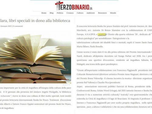 IADPES, alla biblioteca di Anguillara Sabazia i libri del Books for Peace